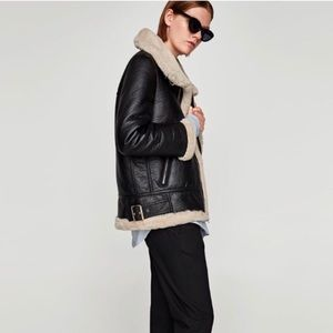 Zara size M Aviator Winter Coat Vegan Leather